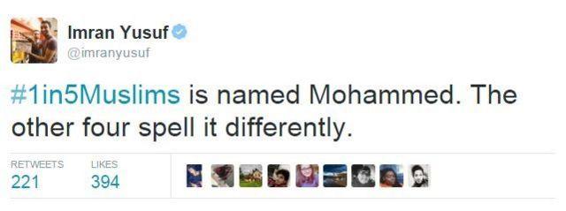 「ムスリムの5人に1人がモハメッドという名前だ。ほかの4人はつづり方が違う」