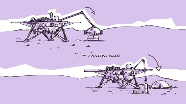 Cartoon of lander