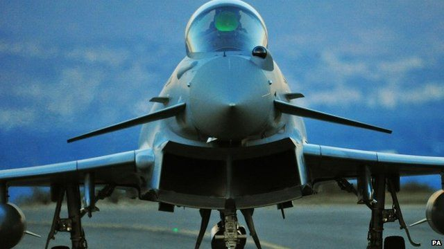A RAF Eurofighter Typhoon arrives at RAF Akrotiri in Cyprus, to bolster the number of jets at the base which began the first British bombing runs over Syria.
