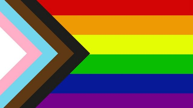 The traditional rainbow flag with a black, brown, blue, pink and white chevron