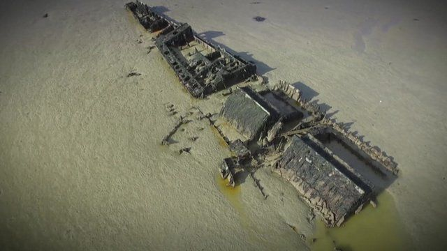 Remains of WW1 German destroyers covered in mud and water