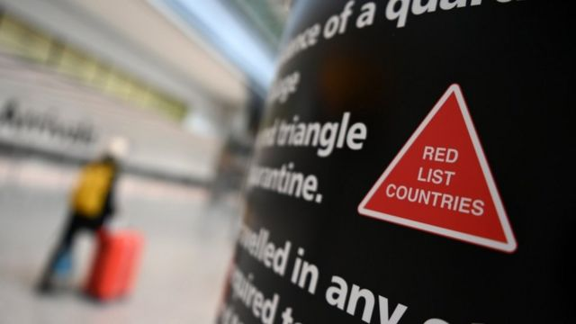 Airport sign warning about red list countries