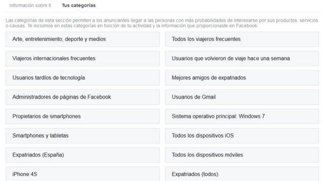 Tu información en Facebook