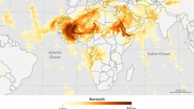 Mapa de la NAS que muestra las micropartículas de polvo en suspensión.