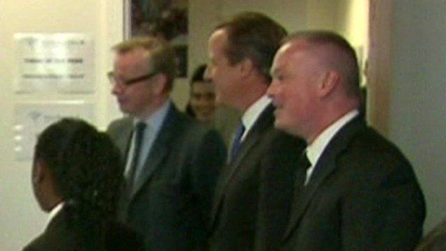 File shot of (l-r) Michael Gove, David Cameron and Liam Nolan