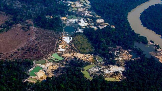 巴西亚马逊地区的埃斯佩兰萨4号金矿营地位于Menkragnoti 原住民领地附近