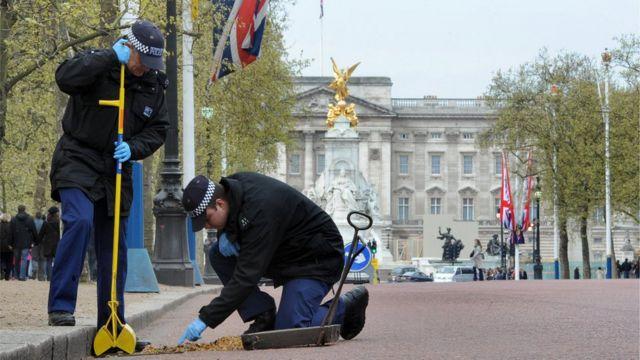 兩名警察在白金漢宮前維護治安。