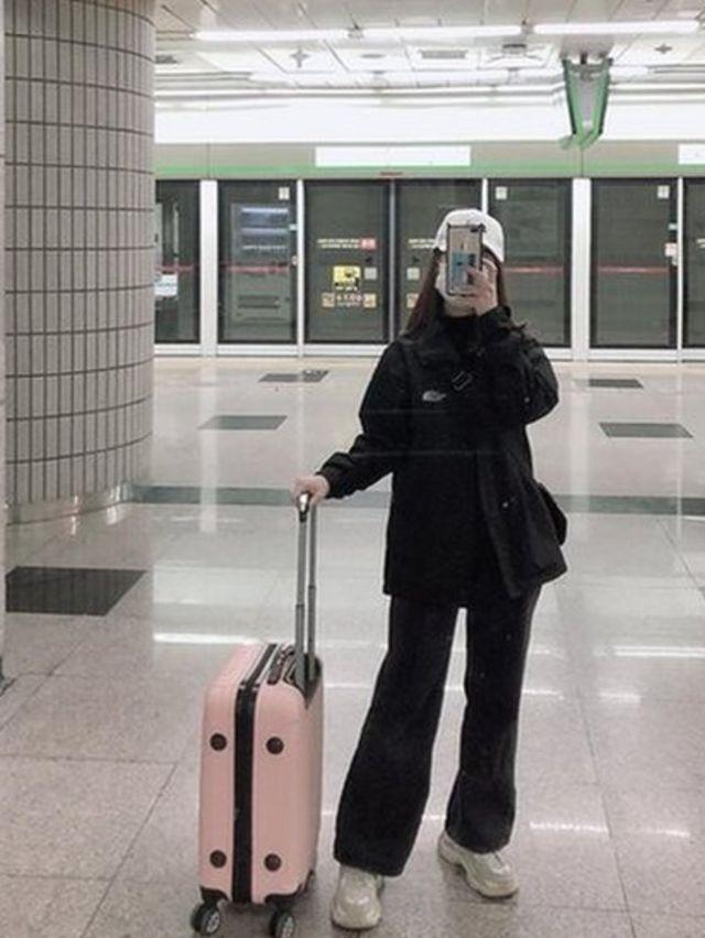 Thùy Trang tại ga tàu vắng người ở Daegu