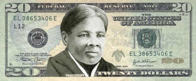 Uma montagem com rosto de Harriet Tubman em nota de 20 dólares