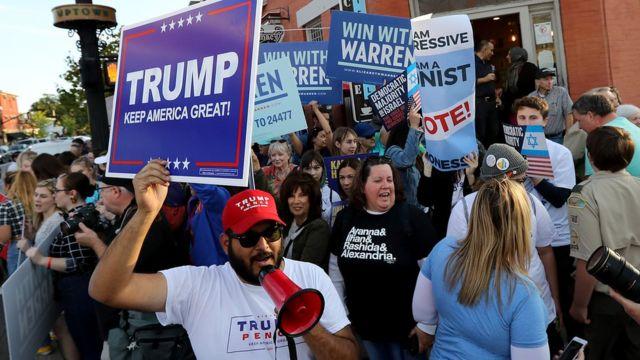 Pendukung Donald Trump dan Elizabeth Warren