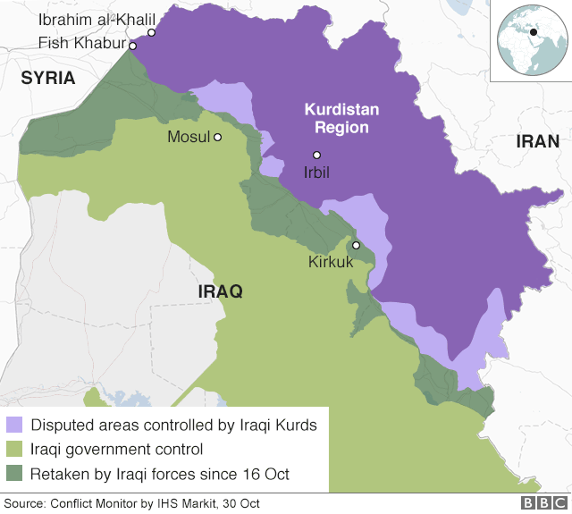 Map showing control of northern Iraq and Kurdistan Region, as well as locations of Fish Khabur and Ibrahim al-Khalil border crossings (30 October 2017)