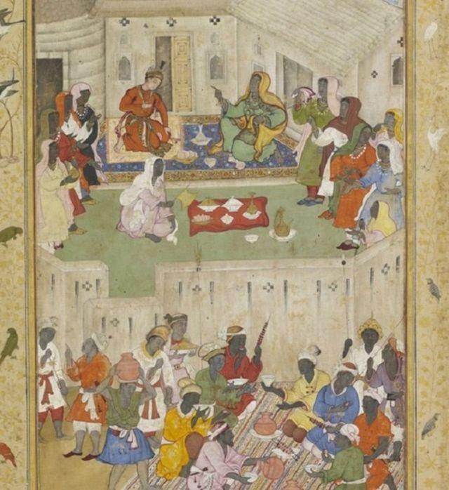 ઇથિયોપિયા કે પૂર્વ આફ્રિકાની જમીન પર ભોજન લઈ રહેલા એક ભારતીય રાજકુમારને દર્શાવતું આ પેઇન્ટિંગ 1590માં બન્યું હતું