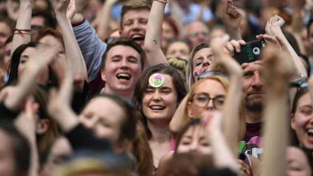 People celebrate the result of Ireland's referendum on liberalising abortion law.