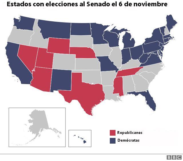 Mapa de Estados Unidos en el que se muestra qué estados tienen elecciones al Senado este 6 de noviembre