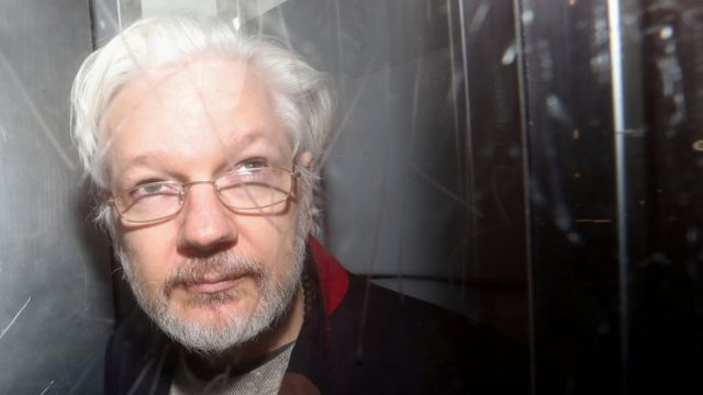 Julian Assange leaving Westminster Magistrates' Court