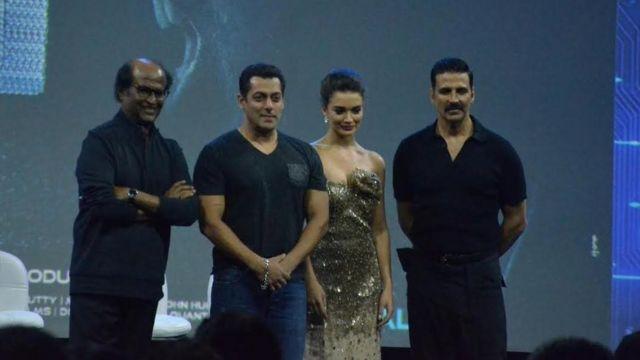 फ़िल्म '2.0' के लॉन्चिंग पर रजनीकांत, सलमान खान, अक्षय कुमार