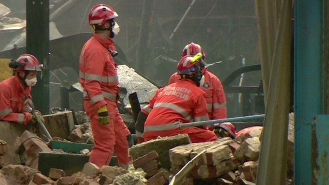 Fire officers continue to search for the four missing people