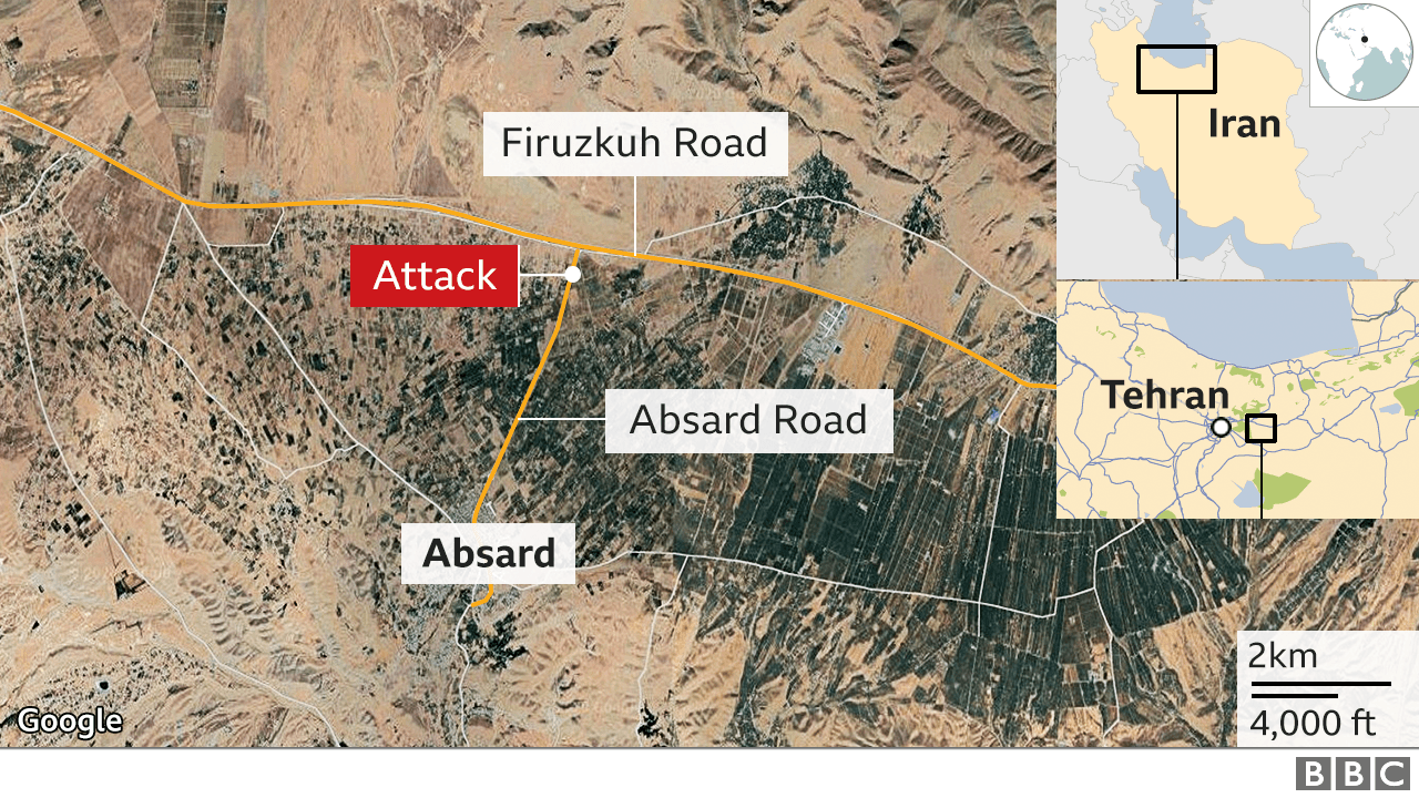Map showing Absard and location of killing of Mohsen Fakhrizadeh