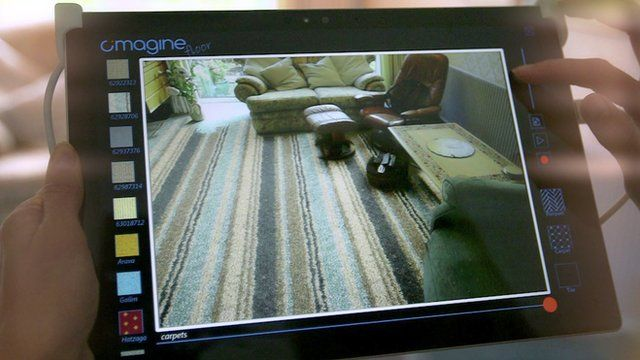 An augmented reality app showing a striped carpet