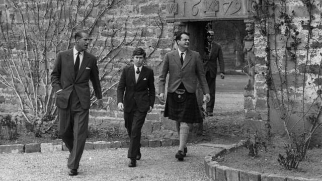 Prince Philip and Prince Charles at Gordonstoun