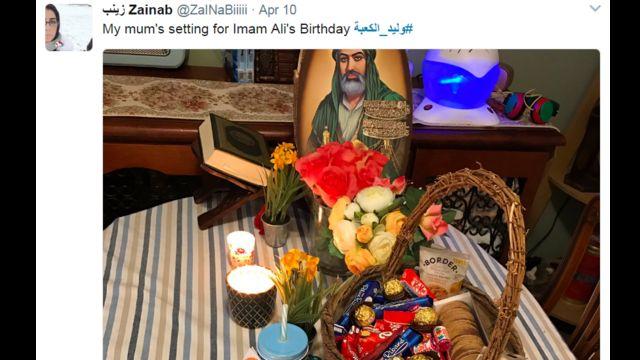 """صورة نشرتها مستخدمة علقت عليها كاتبة: """"تحضيرات والدتي لذكرى ميلاد الإمام علي"""""""