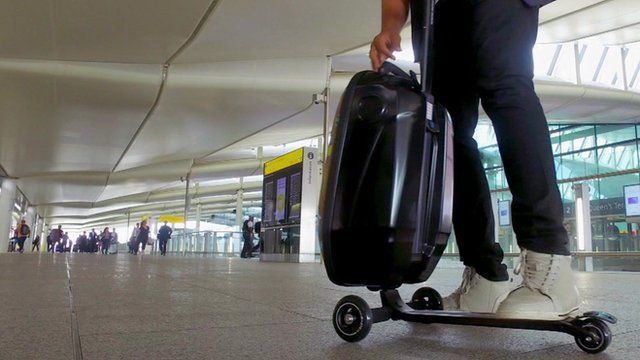 A suitcase with a built-in scooter