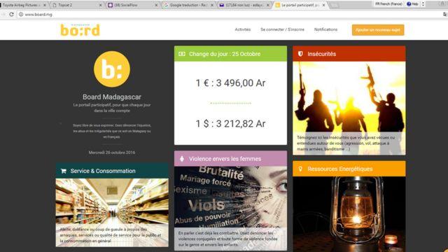 """Sur le site Board.mg, les Malgaches peuvent dénoncer la corruption, les infractions du code de la route ou """"les violences envers les femmes""""."""