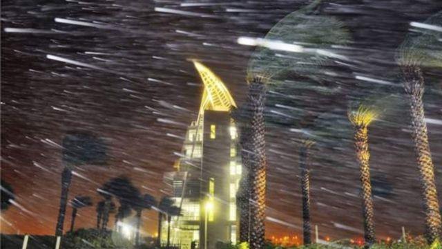 Les vents secouent Cap Canaveral en Floride, le mythique site de lancement de fusée de la Nasa