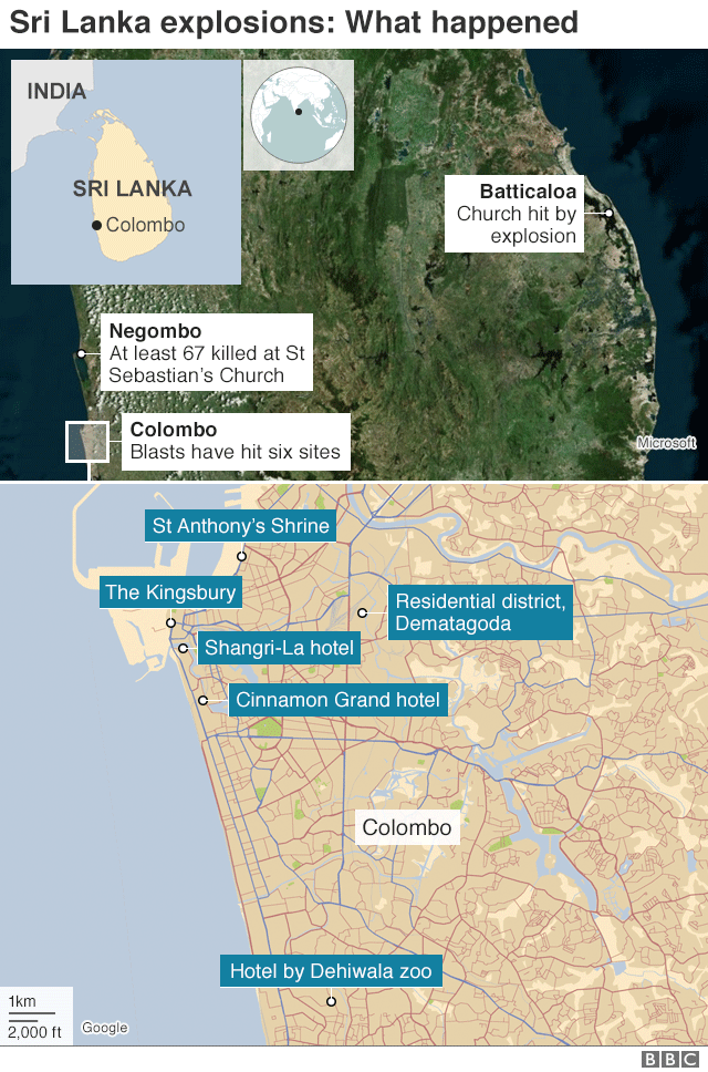 Map showing locations of explosions