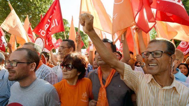 Une manifestation contre la loi sur l'amnistie en Tunisie