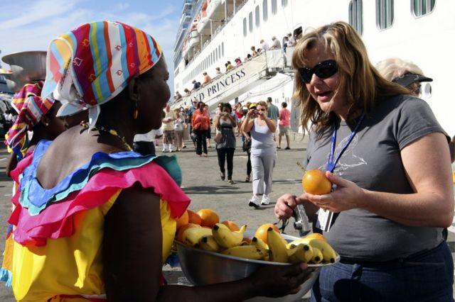Turista en Cartagena, Colombia.