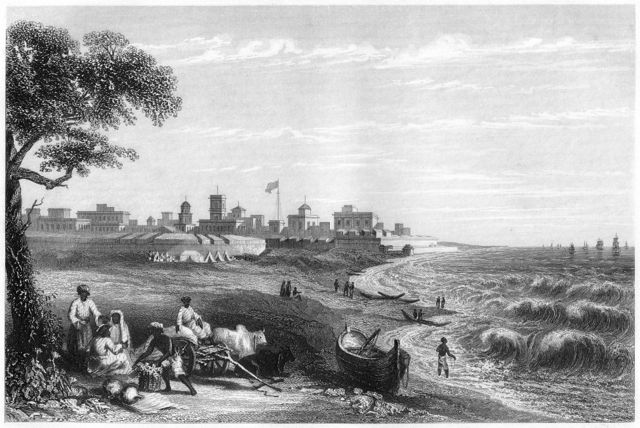 1860களில் அப்போதைய மதராஸின் துறைமுக பகுதியிலிருந்து ஜார்ஜ் கோட்டை இப்படித்தான் காட்சியளித்தது.