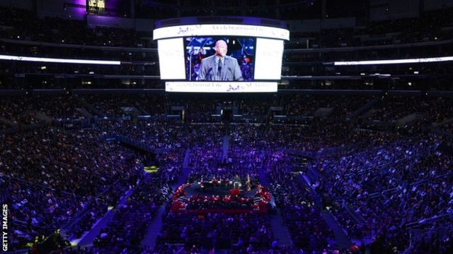 The crowd inside the Staples Center at the Kobe and Gianna Bryant memorial service