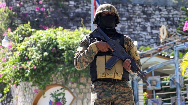 Soldier near the presidential residence in Haiti