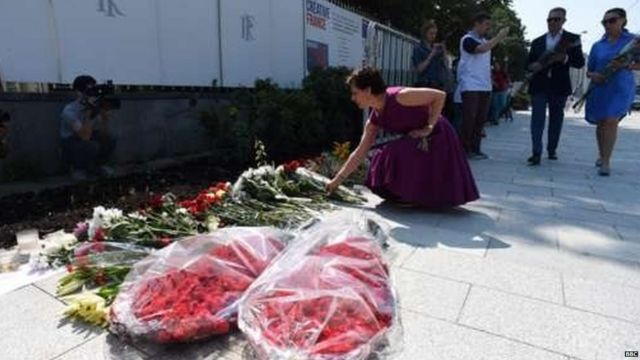 People have been laying flowers at the scene of the attack