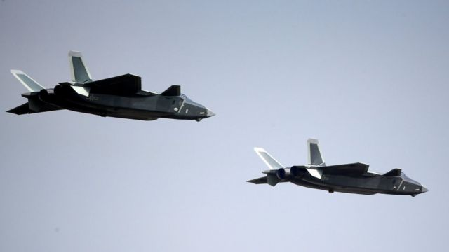 Two J-20 jets at Zhuhai airshow