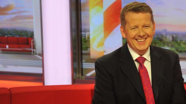 Bill Turnbull on the BBC Breakfast sofa at MediaCityUK in Salford Quays. 02/04/2012.