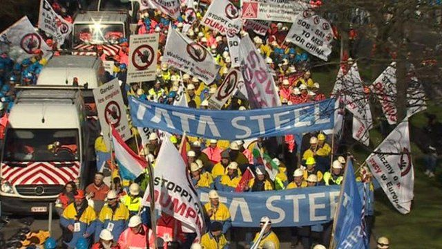 Steel protest in Brussels
