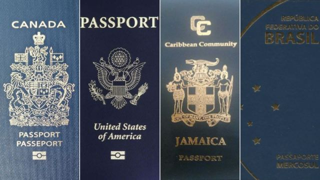 Passports of Canada, the US, Jamaica, and Brazil