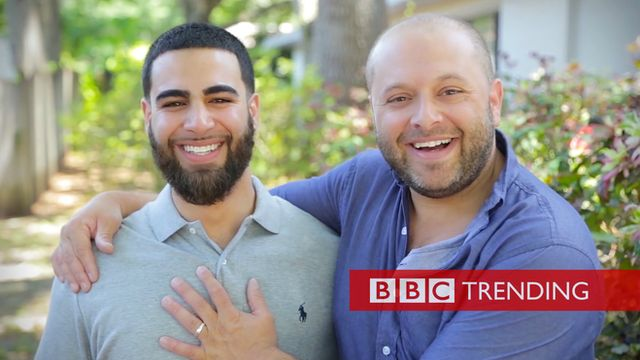 A Muslim man and white man in spoof video about Islamophobia