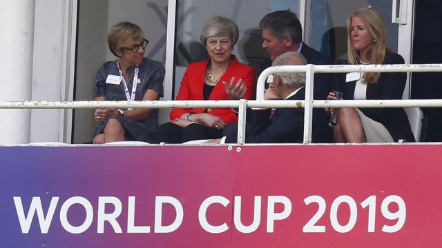 Theresa May at a cricket world cup game