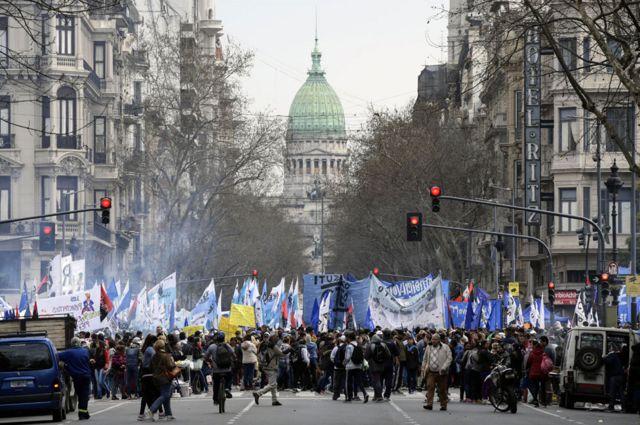 Una protesta contra Macri en Buenos Aires en 2018