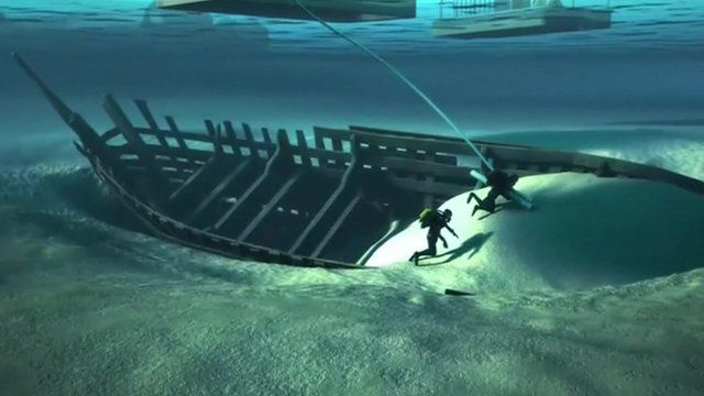 Animation of divers uncovering the wreak on the river bed