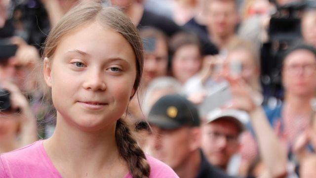 "Swedish environmental activist Greta Thunberg attends ""Fridays for Future"" protest,"