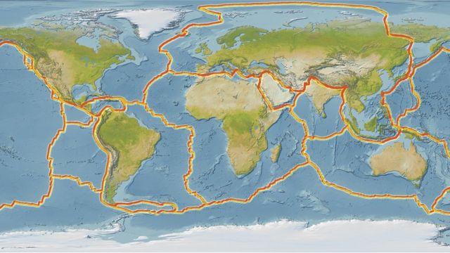 Mapa con las líneas de los supercontinentes.