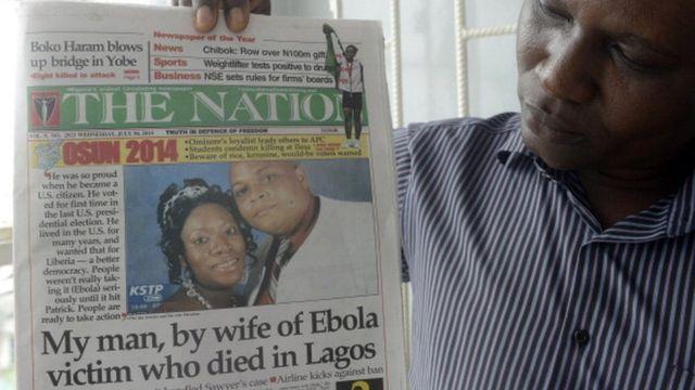 Aworan inu iwe iroyin to ṣe afihan Patrick Sawyer o gbe aarun ebola wọ Naijira