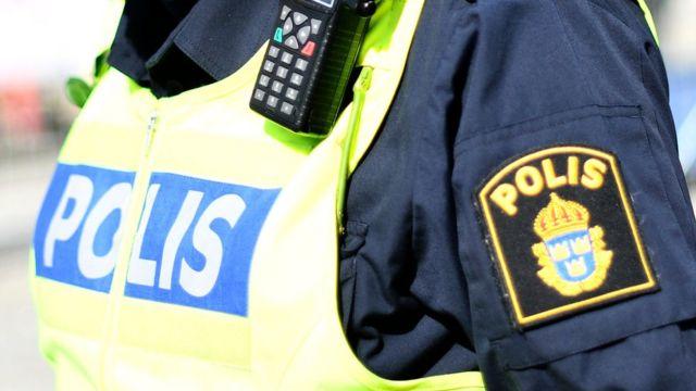 A policeman patrols the streets of Stockholm, Sweden, 9 April 2017