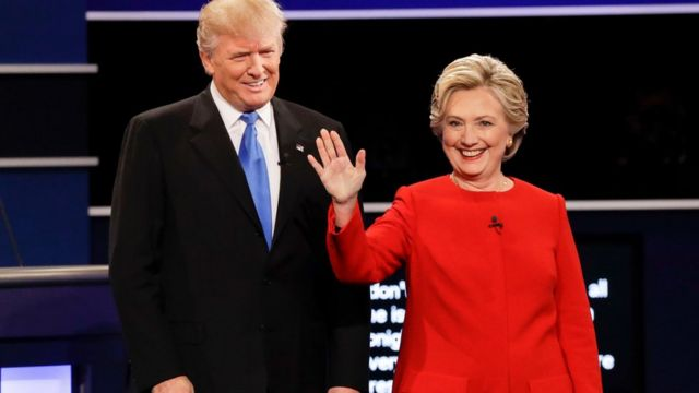 Donald Trump and Hillary Clinton at Hofstra University in Hempstead, N.Y., 26 Sept 2016.