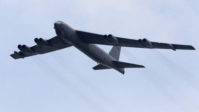 U.S. Air Force Boeing B-52 Stratofortress strategic bomber from Andersen Air Force Base in Guam performs a fly-over at the Singapore Airshow in Singapore, in this file photo taken 14 February 2012.