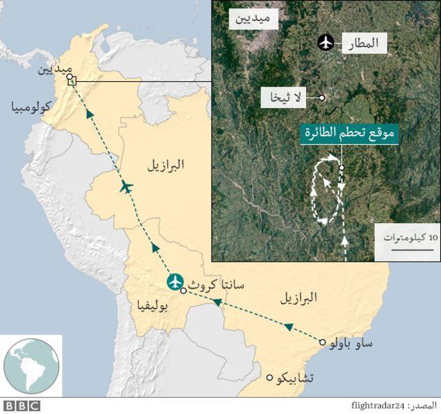 خريطة تظهر موقع تحطم الطائرة